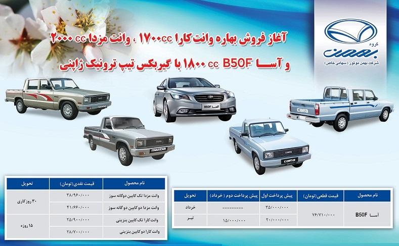 فروش محصولات گروه بهمن فروردین 94