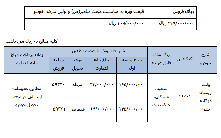 شرایط و قیمت فروش وانت آریسان به مناسب عید مبعث