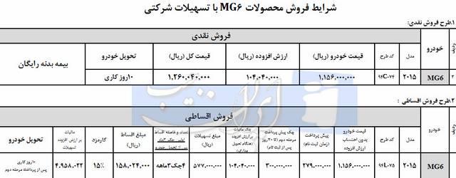 فروش فوری MG6 اطاق جدید خرداد 94