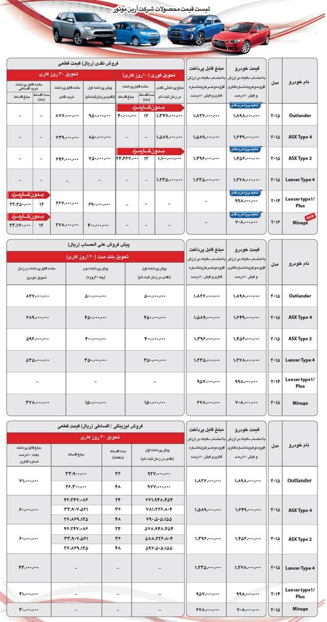فروش نقد و اقساط محصولات میتسوبیشی شهریور 94