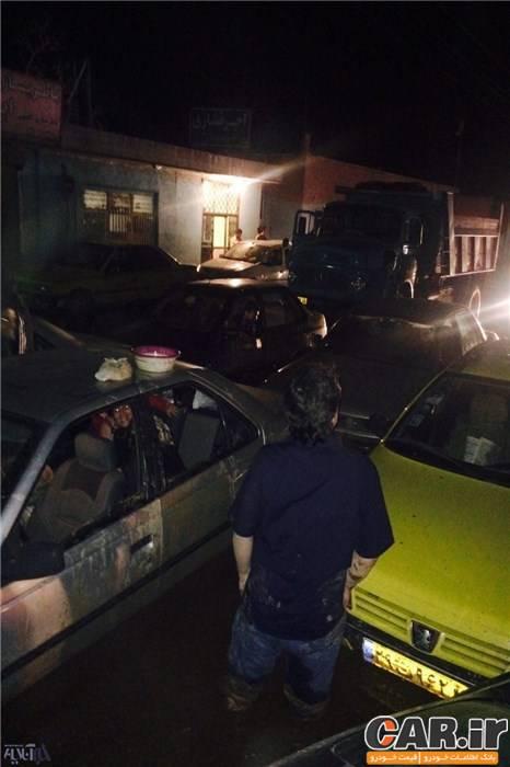 گرفتار شدن 500 خودرو در سیل پاکدشت