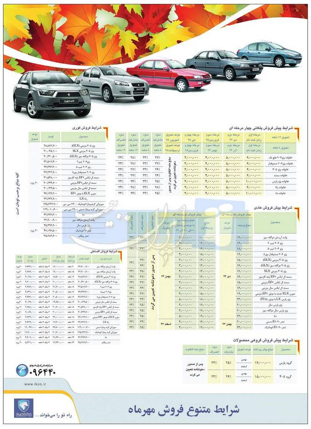 شرایط فروش متنوع مهر ماه 94 ایران خودرو