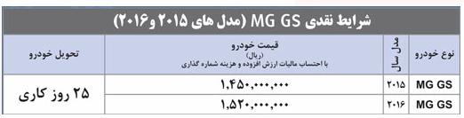 شرایط فروش MG GS  توسط مدیا موتورز – دی 94