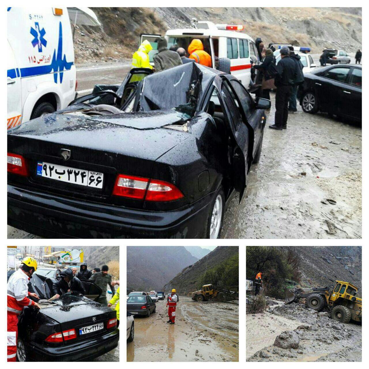 تصاویری از ریزش کوه در جاده هراز